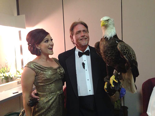 American Eagle Foundation's eagle Challenger and Al Cecere with recording artist Shoshana Bean, from Broadway productions Hairspray and Wicked. She sang the National Anthem tonight during Challenger's free flight at Horatio Alger Awards in DC (4-5-13)