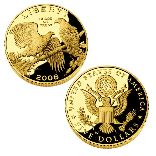 5 Gold Bald Eagle Commemorative Coin Proof American