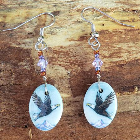 Hand painted porcelain earrings