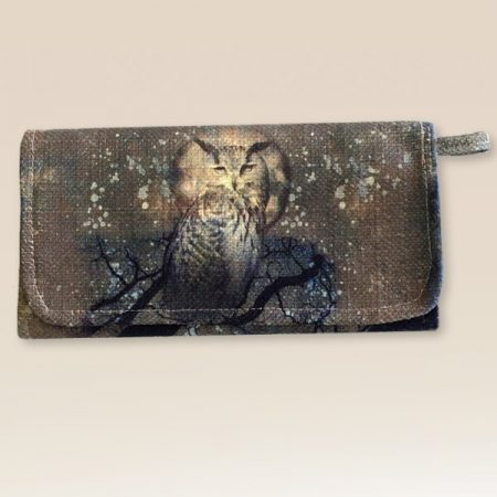 canvas wallet with owl on front