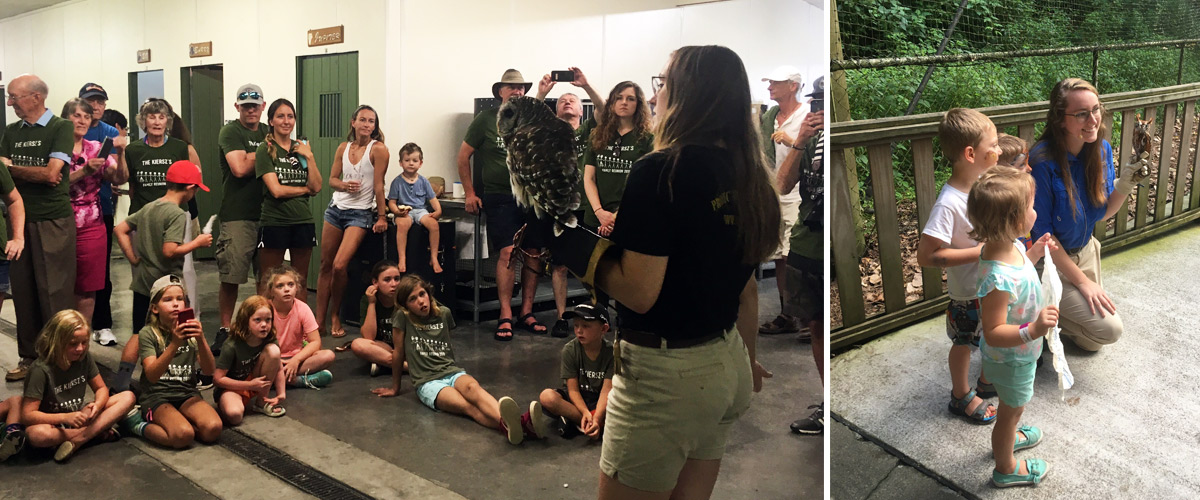 Our 2018 intern, .... , became skilled at presentations and interacting with young visitors who were excited to learn about our birds.